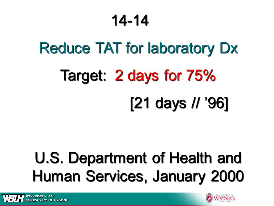 Reduce TAT for laboratory Dx Target: 2 days for 75% [21 days // '96]